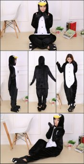 GETEK Penguin Adult Unisex Pajamas Cosplay Costume Onesie SleepwearS-XL (Black) - 2