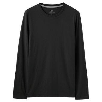 Giordano brushed men New style round neck long-sleeved Top T-shirt shirt (09 logo black)