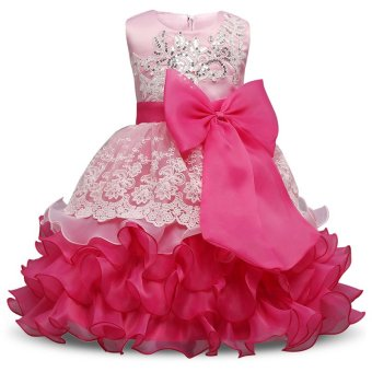 Girl Dress Children Kids Dresses For Girls 3 4 5 6 7 8 YearBirthday Outfits Dresses Girls Evening Party Formal Wear Pink -intl
