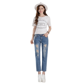 Girl jeans stright casual blue show ankle cropped jeans - 2
