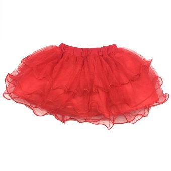 Girl Skirt Party tutu Princess dress 2-3Y(red)