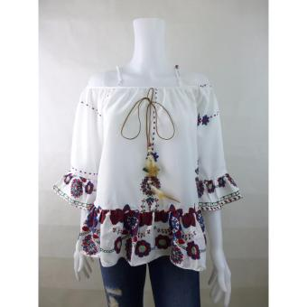 Girl Wednesday Aubrey Floral Off-shoulder 3/4 Bangkok Blouse (red and blue)