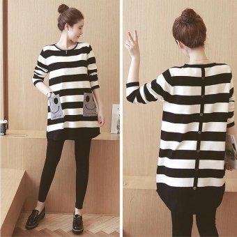 Girlhood Loose stripe maternity dress-Black - intl - 3