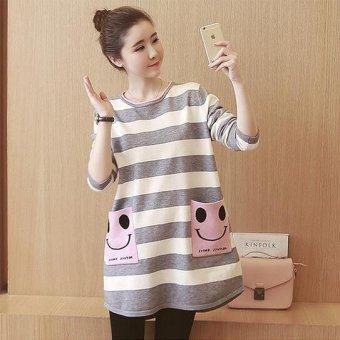 Girlhood Loose stripe maternity dress-Grey - intl - 3