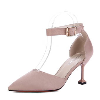 Girls cat Korean-style female spring New style high-heeled shoes in the heel shoes (Pink)
