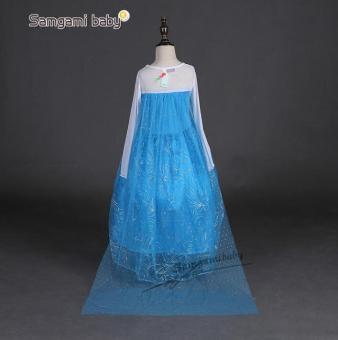Girls Elsa Costume Princess Child Fancy Outfit Party Long Dresses - Intl - 3