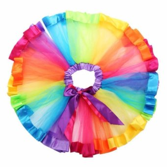 Girls Kid Rainbow Pettiskirt Bowknot Skirt Lovely Ribbons Tutu Skirt Dancewear Fluffy Handmade Party dance Performance Ball gown - intl - 5