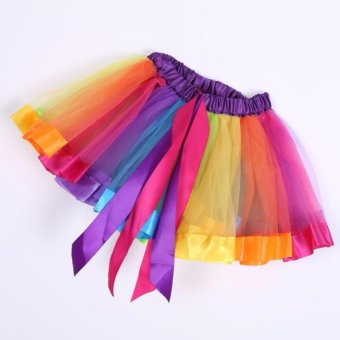 Girls Kid Rainbow Pettiskirt Bowknot Skirt Lovely Ribbons Tutu Skirt Dancewear Fluffy Handmade Party dance Performance Ball gown - intl - 4