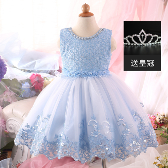 Girls New style princess dress children's dress (Sky blue color) (Sky blue color)