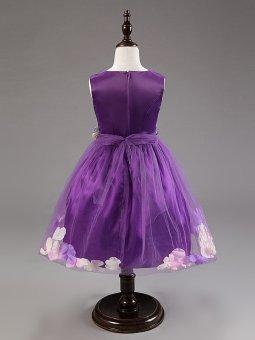 Girls Sleeveless Dresses Children Party Princess Flower GirlsDresses L16001 (Purple) - 3