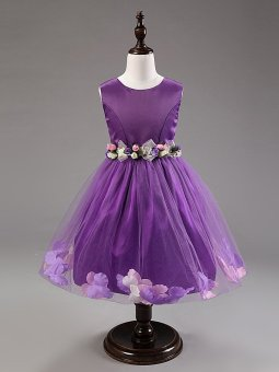 Girls Sleeveless Dresses Children Party Princess Flower GirlsDresses L16001 (Purple) - 2
