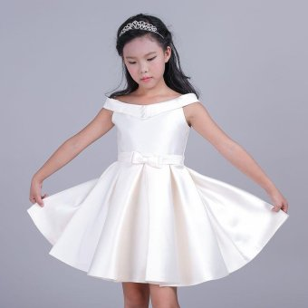 Girls Sleeveless Dresses Summer Children Party Princess Girls OffShoulder Dresses A-Line Flower Dresses L17167 (White) - intl