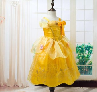 Girls Summer Belle Dresses Princess Costume Party Clothing Beauty and the Beast Yellow Dress Sleeveless Clothes - intl - 4
