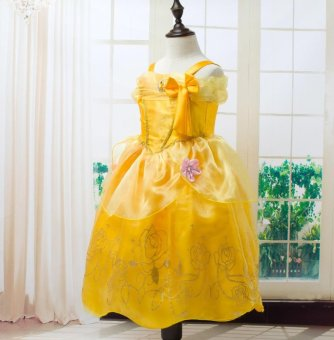 Girls Summer Belle Dresses Princess Costume Party Clothing Beauty and the Beast Yellow Dress Sleeveless Clothes - intl - 3