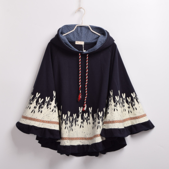 Girl's Winter Cape Cloak Rabbit Ears Navy