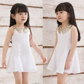 Girls' Korean-style Lace Dress (White lace)