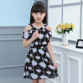 Girls' Large Size Strappy Chiffon Dress (Black)
