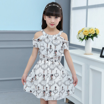 Girls' Large Size Strappy Chiffon Dress (White)
