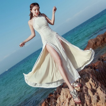 Goddess bohemian women beach dress lace Slim fit dress
