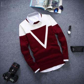 Good Quality Winter Autumn O-neck Long Sleeve Triangle Men Sweater(Red) - intl