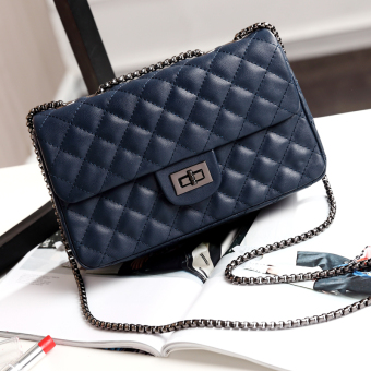 Graceful autumn and winter New style quilted chain bag women's bag (Noble dark blue color large)