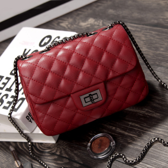 Graceful autumn and winter New style quilted chain bag women's bag (Noble wine red color small)