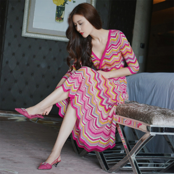 Graceful New style Slim fit word v-neck knit dress (Rainbow powder [long])