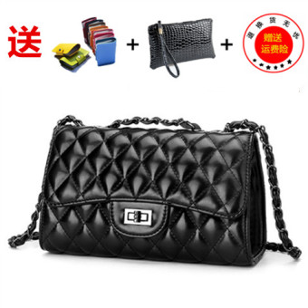 Graceful on New style Lingge chain bag small bag (Wear leather chain black large)