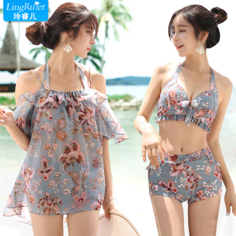 Graceful split Skirt Style push up swimming clothing swimsuit