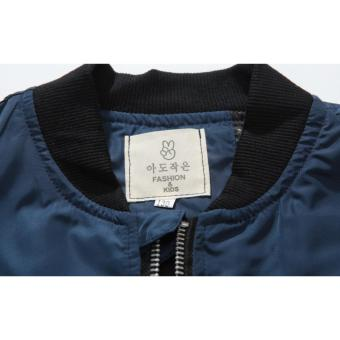 Grandwish Kids Patches Design Jackets Bomber coat Slim 6T-16T (Darkblue) - intl - 4