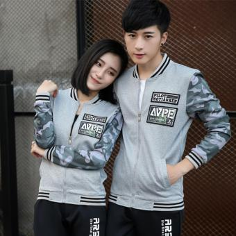 Grandwish Men Camouflage printing Coat Couples Bomber jacket slim M-4XL (Grey) - intl