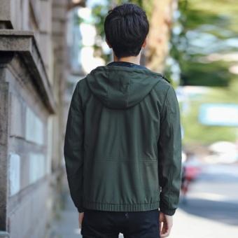 Grandwish Men Fashion Coat Baseball collar Bomber Jacket solid CoatHoodies M-3XL (Army green) - intl - 4