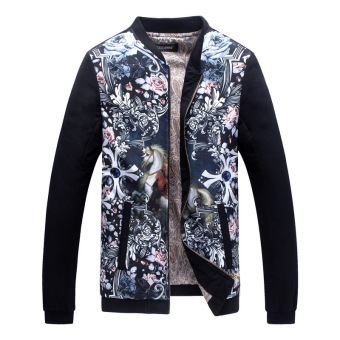 Grandwish Men Floral Pattern Printing Bomber Jackets Stand Collar Coat M-5XL (6)