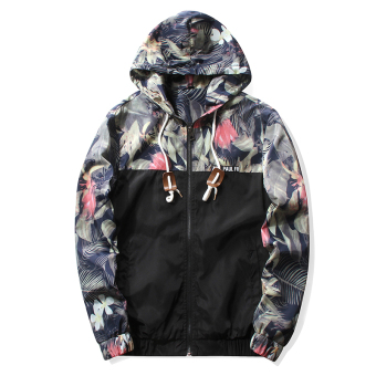 Grandwish Men Floral Printing Jackets Hoodies Slim Bomber Jackets M-5XL (Black) - intl