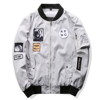 Grandwish Men Letter Printing Jackets Graphic Printing Slim Bomber Jackets M-4XL (Light grey) - intl