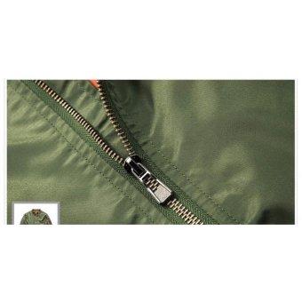 Grandwish Men Pilot Bomber Jacket Pure Color Coat Plus size S-6XL (Dark blue) - intl - 4