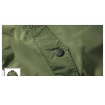 Grandwish Men Pilot Bomber Jacket Pure Color Coat Plus size S-6XL (Dark blue) - intl - 5