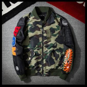 Grandwish Mens Bomber Jacket Shark Embroidery Camouflage coat M-3XL (Army green) - intl - 3