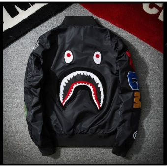 Grandwish Mens Bomber Jacket Shark Embroidery Camouflage coat M-3XL(Black) - intl