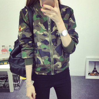 Grandwish Women Camouflage Jackets Baseball uniform Coat Slim M-2XL (Green) - Intl