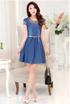 Grandwish Women Denim Dress Lace stitching Hollow Out Design SlimM-4XL (Blue) - Intl