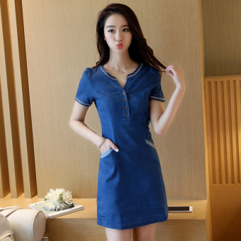 Grandwish Women Denim Embroidery Dress With Pocket Design Slim S-2XL (Blue) - Intl