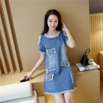 Grandwish Women Denim Ripped Holes Dress With Pearl Design Off shoulder Dress Slim S-XL (Blue) - Intl