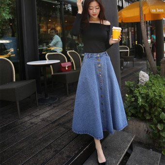 Grandwish Women High Waist Denim Long Skirts Single-breasted Skirts S-XL (Light Blue) - Intl