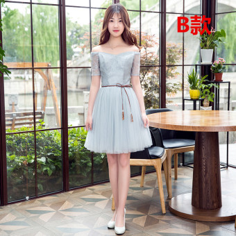 Gray New style bridesmaid dress sisters dress bridesmaid dress (Gray B)