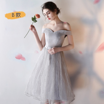 Gray New style bridesmaid dress Slim fit evening dress bridesmaid dress (Mid-length silver color B Section)