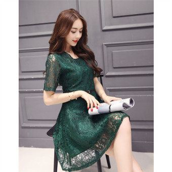 Green 2016 Fashion Women Sexy O-neck Hollow-out Lace Close-fitting Slim Floral Print Casual Short Sleeve Dress Vestidos - 2