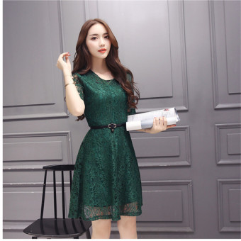 Green 2016 Fashion Women Sexy O-neck Hollow-out Lace Close-fitting Slim Floral Print Casual Short Sleeve Dress Vestidos