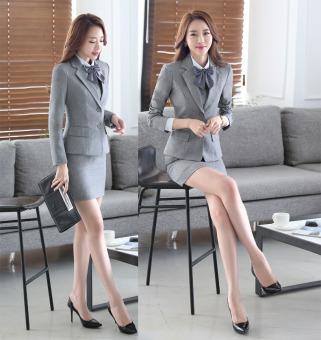 Grey Long Sleeve Spring Autumn Formal Blazer Coat For BusinessWomen Ladies Office Work Wear Formal Blazers Jackets Outwear FemaleTops Clothes - intl - 3