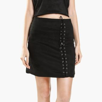 GTW Fab Suede A-Line Skirt (Black)